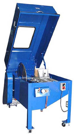 Image shows the Diamond Pacific TR-24 inch Slab Saw that will cut up to 9 inch items.