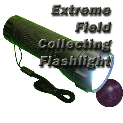 Illustration shows the extreme beachcomber's LED Flashlight featuring a stronger true white light.  You can truly see the difference in the colors of the agates with this and not waste your time on leaverites! (Star Garnet pictured not included) In Stock and ships immediately. Great stocking stuffer. To ensure availibility of this item, order as early as possible.