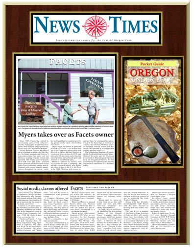 News Story by Terry Diller with the Photo as it appeared in the August issue of the News Times Business section featuring FACETS original team Rich and Kay, as Rich turned the business and the keys over to Kay as he retired to Idaho.