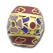 Sample shown of Cloisonne -  12mmm Brown barrel bead - just $1.40 each.  Cloisonne twisted wire and enameled beads, producing delightful intricate patterns of a picture or mosaic, similar to a stained glass window.  The art of Cloisonne is an enameling technique in which thin wire partitions (called, cloisons) are filled with enamel.  This technique is very old, and was practiced in ancient Byzantium and China.  First, delicate strips of copper wire are bent to create a design, then are placed and soldered onto the bead's surface.  Next, the spaces are filled with different colored enamels.  Finally, the bead is fired and polished several times to produce the desired effect.  These beads come in different colors and shapes.  Other styles also available, come see us! Limited to stock on hand.