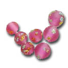 Special beads for the focal points of your designs. Shown here Vintage Flower Bead in pink with flowers, 8mm round, also available 6mm, click here to see the purple (amethyst) matte glass 8mm round beads too!  Made one at time, these beads possess a quality that only handmade things have - the mark of the hand - limited to stock on hand. In Stock for immediate shipping. Order NOW!