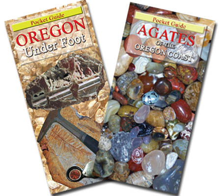 Agates of the Oregon Coast and Oregon Under Foot our Best Sellers and essential pocket guides for Oregon's rockhounds, beachcombers or agate hunters alike.  If a picture is worth a thousand words, these pocket guides, Agates of the Oregon Coast and Oregon Under foot tell it ALL! Agates of the Oregon Coast is a comprehensive, easy-to-use, full-color, illustrated guide of the what, where, when, and how to collecting agate, jasper, fossils, and petrified wood commonly found along the Pacific Coastline is ideal for the novice or experienced collector of all ages and abilities.  This best seller is in stock for immediate shipping.  Buy it NOW and SAVE!