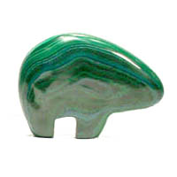 Malachite...bears in marbleized textural patterns of dark forest green to leaf green in color. Approx. dimensions: 2½ inches long x 1¾ inches high x ½ inches thick. In Stock shipping weight 8 ozs. $36.00.