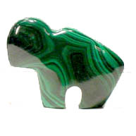 Malachite Buffalo... in marbleized textural patterns of dark forest green to leaf green in color. Sizes and patterns will vary to approx. dimensions of: 2¼ inches long x 1 5/8 inches high x ½ inches thick. In Stock Shipping weight 8 ozs. Price will range $29.50 - $67.50.