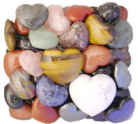Assorted Gemstone Hearts...these stones of love were hand-carved in assorted gemstones of agate, amethyst, carnelian, gold stone, hematite, howlite, labradorite, rhodonite, rose quartz, snowflake obsidian, sodalite, and tiger eye hearts are in stock and available for immediate shipping