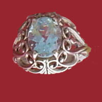 Sterling silver filigree rings set with genuine faceted topaz in various varieties of color - sky to london blue, all members of the topaz family of birthstones for November.
