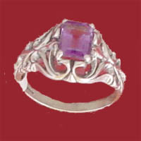 Item #121-RF-PIN-Am - Faceted emerald cut 8x6m.m. Amethyst is prong set in an intricately detailed frame of sterling silver.