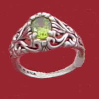 Other classic and elegant sterling silver filigree rings featuring genuine exotic faceted gemstones such as: Genuine peridot the August birthstone, genuine citrine a November birthstone, genuine smoky quartz or cubic zirconia.