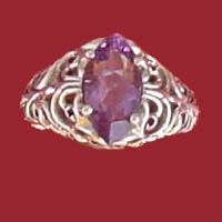 Item #121-RF-TAH-Am  Sterling silver Antique Style faceted marquise set 12x6m.m. Amethyst Filigree Ring.
