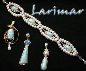 Photo (c)of the Larimar collection of jewelry offered by FACETS Gem & Mineral Gallery, in Newport, Oregon.  Customized pearl accented bracelet by FACETS team member Bobbie Kent, also shown with assorted sterling silver pendants and a 14K gold filled wire wrapped pendant as offered in the showroom, where you will also find a fine selection of earrings and rings to choose from!  Product selection and availability subject to change without notice.