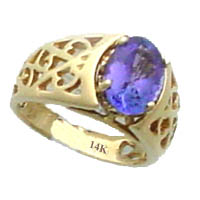 Sample shown of our 2.35 ct tw. Oval Tanzanite, in one of our stylish 14K gold Filigree Rings. Click here to learn more about Tanzanite.