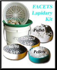 FACETS Lapidary Kit- Designed for rotary tumblers - not just a one time media kit! It contains all the necessary supplies to grind and polish 24 to 30+ (not just 10-14) pounds of rock - giving you excellent results on a wide range of stones. Separator Screen lightweight sieve of durable plastic.  Sifter is made to, sit on top of your 3 1/2 or 5 - gallon bucket to rinse your tumbled rock (will not scratch the polish on your stones like metal separators). Just the thing for separating brass from media quickly. In Stock - Order NOW! (Styles may vary with availibility) Lapidary Abrasives and Polish - Bulk grits, polishes, silicon carbide