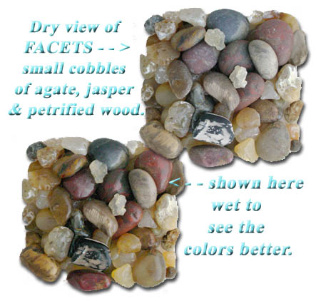Click here to enlarge image - Samples shown of our Small size Tumbling Rock Mix -  of natural (NOT hammer broken) Oregon agate, colorful jasper and petrified wood cobbles for 1-3 pound rock tumblers, In Stock and Ships Immediately!